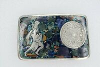Mexican Sterling Silver .925 Belt Buckle Aztec Warrior Mayan Calendar Inlaid