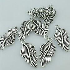 14564 20PCS Alloy Antique Silver Vintage Bird Feather Tree Leaf Pendant Charm