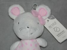 MOTHERCARE MY FIRST MOUSE SOFT TOY PINK RATTLE COMFORTER DOUDOU