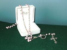 """HIRTEN ROSARY, PINK MOTHER-OF-PEARL TYPE, 19"""", ITALY ~ NEW WITH TAGS/BOX"""