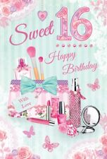 """Age 16 Girl Birthday Card - Pink Make Up Bag, Roses & Butterflies 8.5"""" x 5.5"""""""