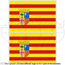 "ARAGON Aragonese Flag SPAIN Zaragoza Spanish 75mm (3"") Vinyl Stickers Decals x2"