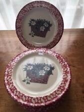"Henn Pottery Red Spongewear Salad 7.5"" Plates x 6 Botanical Baskets USA"