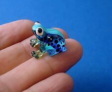 Baby Frog Hand Blown Glass Figurine - Blue