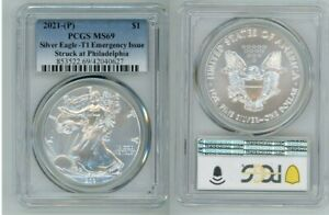 2021 P SILVER AMERICAN EAGLE $1 EMERGENCY ISSUE TYPE 1 PCGS MS69 BLUE LABEL N40