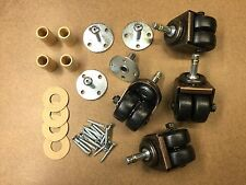 Double/Dual Rubber Wheels Caster Kit For Upright Pianos - 4 Casters+Hardware Set
