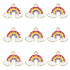 15pcs/Lot Assorted Enamel Cloud Rainbow Pendant Charms DIY Accessories Crafts