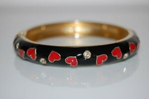ELEGANT COUTURE RED HEARTS ON BLACK ENAMEL WITH RHINESTONES HINGED CUFF BRACELET