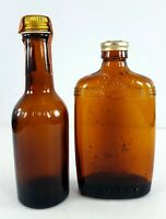 Two Vintage No Label Cocktail Whiskey 1930's Miniature Bottles Empty No Contents