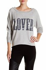 NWT HAUTE HIPPIE SzS LOVER LONG SLEEVE PULLOVER TOP IN LIGHT HEATHER GREY $135.