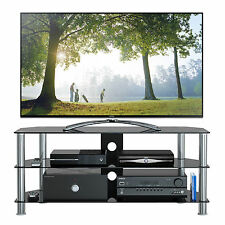 "1home GT5 Black Glass Silver Leg TV Stand 32""-70"" Plasma LCD LED 3D TV 120cm"