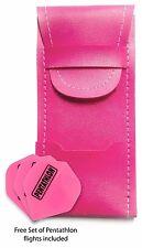 Pink Dart Case - Standard Bar Wallet & 1x free set of Pentathlon flights BARGAIN