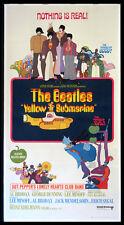 YELLOW SUBMARINE THE BEATLES PSYCHEDELIC 1968 3-SHEET BILLBOARD LINENBACKED