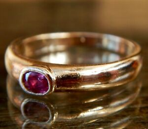Vintage 9ct Gold Single Stone Oval Cut Ruby Ring