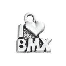 30pcs I Love BMX Cycling Bike Tibetan Silver Charms Pendants Wholesale Heart