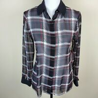 VINCE CAMUTO Plaid Shirt Blouse Top Semi Sheer Button Front Women's Size XS NWT