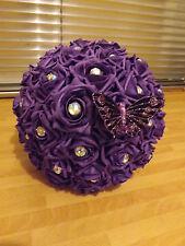 Wedding flowers purple rose bouquet,diamante,bride,maid,flower girl, butterfly