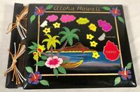 VINTAGE 1950S BLACK LACQUER HAND PAINTED ALOHA HAWAII SCRAPBOOK PHOTO ALBUM