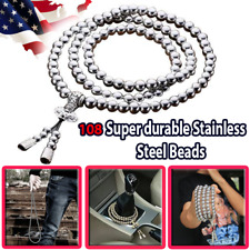 Self Defense 108 Stainless Steel Silvery Beads Whip Bracelet Necklace Outdoor Us