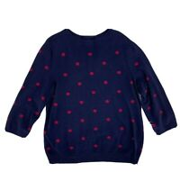 Talbots Women's Sweater Size L Blue Red Polka Dot Pullover Cotton Blend Crew O2