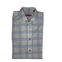 Hugo Boss Dress Shirt Long Sleeve Button Down Blue Plaid Men's 15.5 32/33