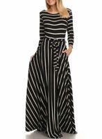 Black Stripe Fit & Flare Belted Jersey Maxi Dress