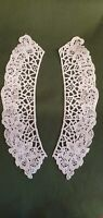 Vintage Long Lace Collar for Adults - White 100% Cotton 9 inches 24cm x1 pair
