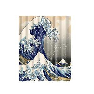 "Fabric Polyester Shower Curtain Bathroom Drapes Panel 71""+ 12 Hooks Sea Wave"