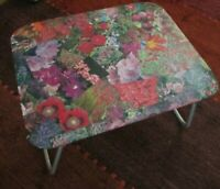 Retro 60`s 70`s rectangular floral decoupage folding picnic table metal legs