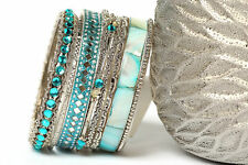Women's Fashion Bohemian Multi-Color Bollywood Bangle Bracelets Turquoise/Silver