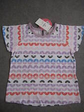 M&S T SHIRT IN LILAC/WHITE & COLOUR SHAPES WITH SHORT SLEEVES - AGE 3-4Y - BNWT