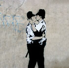 "BANKSY Kissing Coppers *FRAMED* CANVAS PRINT poster Graffiti Art 20"" x 20"""