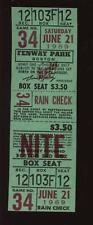 6-21 1969 Boston Red Sox Fenway Park Full Ticket NRMT