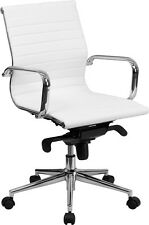 LOT OF 8 WHITE LEATHER MID BACK CONFERENCE ROOM TABLE CHAIRS POLISHED BASE NEW