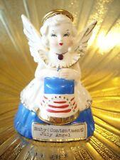 RARE VTG July Birthday Angel Girl Holds Flag w/ Orig Sticker Figurine