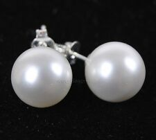 10mm White south sea shell pearl round beads silver Stud earrings AAA+