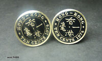 Hong kong coin cufflinks 10 cent King George VI(1948-1951)or Queen Elizabeth II