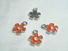 10 x Enamel Flower Charms : BNEC32 Orange