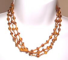 Vintage 3 Strand Necklace Venetian Crystal and Foil Bead Strand Amber Color