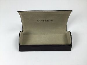 ANNE KLEIN Brown Eye Glasses Magnetic Snap Case Sunglasses Glass Case ONLY. T2