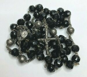 """† SCARCE """"MOURNING"""" ANTIQUE HALLMARK STERLING BLACK GLASS & ETCHED HTF ROSARY †"""