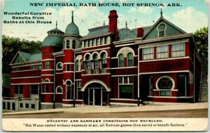 "1917 HOT SPRINGS Arkansas Postcard NEW IMPERIAL BATH HOUSE ""Hygienic & Sanitary"""