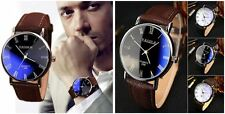 Men's: 'Blue Ray' Designer Formal Contemporary Watch With Buffalo Leather Strap