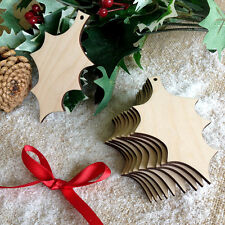 Wooden HOLLY LEAF Christmas Decorations Tag Art Craft Embellishments Birch x10