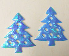 "60 Shiny Blue Pine Tree 2.16"" Padded Applique Trim Christmas Decor Card Craft"