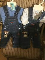 Baby Boys Denim Dungaree Set 100% Cotton Blue 0-3 3-6 Months Embroidered Jeans