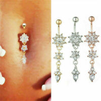 Rhinestone Steel Navel Rings Belly Button Bar Rings Dangle Body Piercing Jewelry