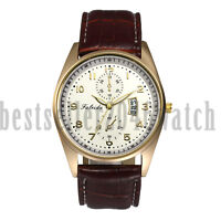 Business Mens Date Calendar Leather Strap Sport Casual Quartz Analog Wrist Watch