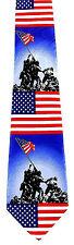 Iwo Jima Marines Mens Neck Tie Military Blue Necktie US Flag WWII Patriotic New