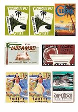 12 Reproduction Vintage Luggage Suitcase Labels Stickers - Exotic Islands